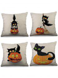 4 Pcs Halloween Pumpkin Cat Print Linen Pillowcases Set -
