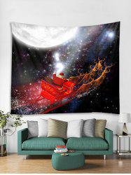 Father Christmas Deer Sleigh Print Tapestry Art Decoration -