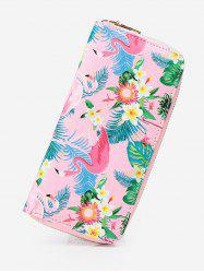 Flamingo Print Zip Around Wallet -