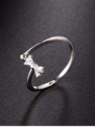 Cut Out Rhinestone Bow Open Ring -