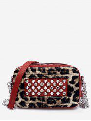 Leopard Print Rhinestone Chain Crossbody Bag -