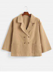 Plus Size Pockets Double Breasted Coat -