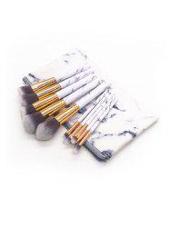 10 Pcs Marble Handles Fiber Cosmetic Brush Set with Bag -