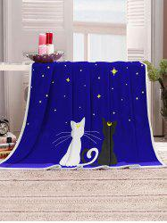 Starry Night Cats Pattern Soft Flannel Throw Blanket -