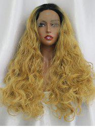 Long Center Parting Ombre Curly Lace Front Synthetic Wig -