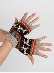 Christmas Elk Fingerless Winter Gloves -