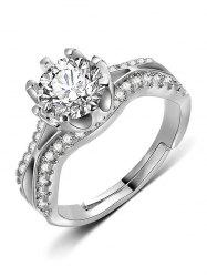 Flower Design Artificial Diamond Finger Ring -