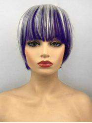 Short Full Bang Colormix Straight Bob Cosplay Party Synthetic Wig -