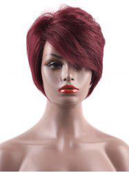 Inclined Bang Short Layered Straight Capless Human Hair Wig -