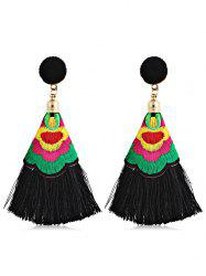 Ball Shape Long Tassel Drop Earrings -