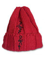 Winter Letter Embroidery Flanging Beanie -