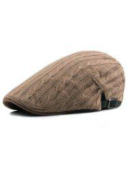 Solid Color Knitted Newsboy Cap -