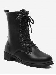 Lace Up Flat Short Boots -