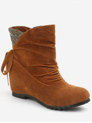 Increased Internal Ruched Bowknot Ankle Boots -