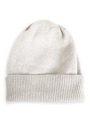 Solid Color Flanging Knitted Baggy Beanie -
