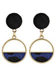 Leopard Pattern Furry Ball Geometric Earrings -