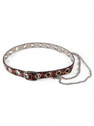 Punk Leopard Print Rivets Chain Belt -