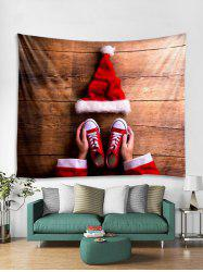 3D Christmas Hat Wooden Print Tapestry Art Decoration -
