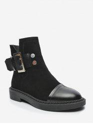 Buckle Strap Patch Ankle Boots -