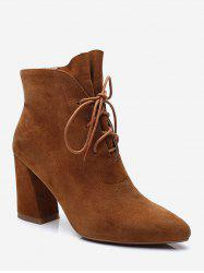 Pointed Toe Lacing Chunky Heel Boots -