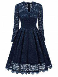 V Neck Buttons Embellished Lace Dress -
