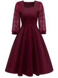 Lace Sleeve Sweetheart Neck A Line Dress -