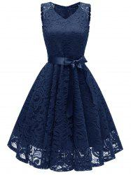 V Neck Lace A Line Sleeveless Dress -