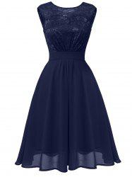 Lace Bodice Fit and Flare Midi Dress -