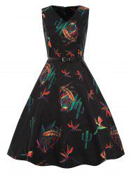 Vintage Printed Belted Sewing Dress -