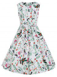 Birds Print Sleeveless A Line Dress -