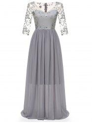 V Neck Embroidered Tulle Panel Prom Dress -