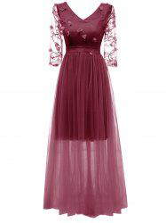 V Neck Embroidered Maxi Tulle Dress -