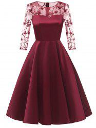Sheer Embroidered Mesh Panel Cocktail Dress -