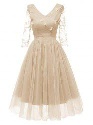 V Neck Embroidered Tulle Cocktail Dress -