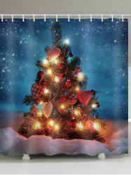 Christmas Tree with Balls Design Waterproof Shower Curtain -