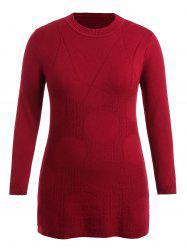 Patterned Plus Size Round Neck Sweater Dress -