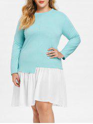 Round Neck Plus Size Color Block Dress -