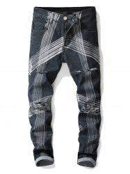 Abstract Lines Pattern Destroyed Straight Leg Jeans -
