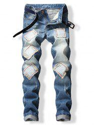 Chinese Letters Patched Frayed Cuffed Jeans -