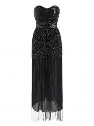 Sequined Bandeau Padded Maxi Evening Dress -