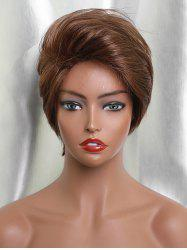 Inclined Bang Straight Short Capless Human Hair Wig -