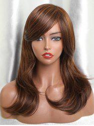 Inclined Bang Long Colormix Layer Straight Human Hair Wig -