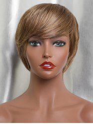Inclined Fringe Short Capless Straight Human Hair Wig -