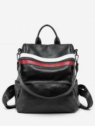 Color Block Striped School Backpack -