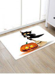 Pumpkin Cat Print Decorative Floor Rug -