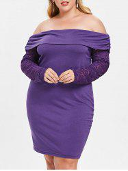 Plus Size Off Shoulder Bodycon Dress with Lace -
