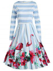 Flamingo Stripe Print A Line Dress -