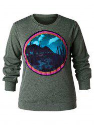 Sweat-shirt Pull over 3D Cactus Imprimé de Grande Taille -