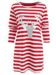 Christmas Elk Head Print Striped Dress -