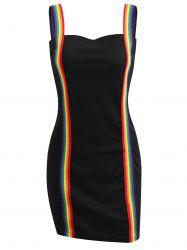 Rainbow Striped Strap Mini Bodycon Dress -